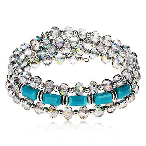 - Lateefah Crystal Beaded Bangle Wrap Bracelet Fashion Bohemian Jewelry Multilayer Charm Natural Stone Bracelets for Women Girls
