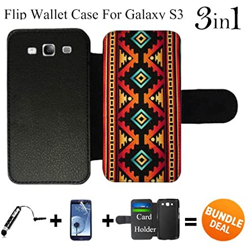 Native American Tribal Pattern Custom Galaxy S3 Cases Flip Wallet Case,Bundle 3in1 Comes with Screen Protector/Universal Stylus Pen by (Galaxy S3 Case Native)