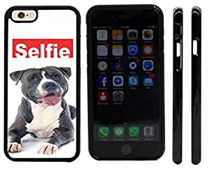 Rikki KnightTM Selfie Black Pitbull Dog Design iPhone 6 Case Cover (Black Rubber with front bumper protection) for Apple iPhone 6