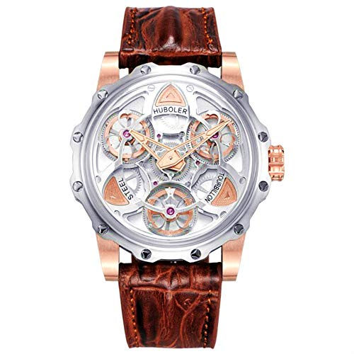 (Huboler Stainless Steel 47mm Swiss Quartz Genuine Crocodile Brown Leather Strap Mens Wrist Watch White dial)