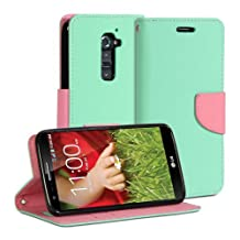 LG G2 Case, GMYLE (R) Wallet Case Classic For LG G2 D800 801 802 803 - Turquoise Blue & Pink PU Leather Slim Magnetic Flip Stand Cover with Card slot and money pocket [Not fit for LG G2 mini]
