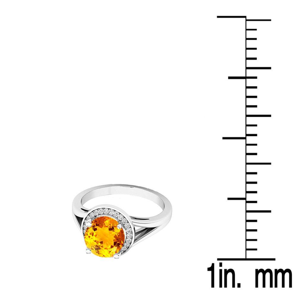 14K White Gold Citrine & White Diamond Halo Style Bridal Engagement Ring (Size 7) by DazzlingRock Collection (Image #3)