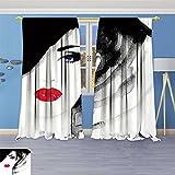 Best InterDesign Home Fashion Curtains 80 Wides - SOCOMIMI Blackout Burgundy Curtains face. Woman Portrait Review