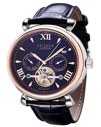Zeitner | Limited Edition Club Automatic Skeleton Chronograph Mens Watch | Gold & Stainless Steel Case Black Dial | Black Leather Strap | Mens Dress Watch
