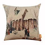 LINKWELL 18x18 inches Merry Christmas People go to Church Burlap Throw Cushion Cover Pillowcase CC1197