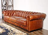 Pasargad Carpets Chester Bay Genuine Leather Tufted Sofa, 3' 2 x 8'