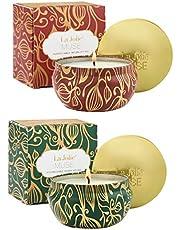 La Jolíe Muse Bougies Parfumées Coffret Cadeau Lot de 2 en 100% Cire de Soja Naturelle Bio pour Décoration Maison Cadeau Anniversaire Fête