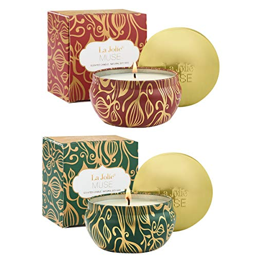 LA JOLIE MUSE Scented Candles Set 2 Cinnamon Pumpkin & Fir Cedarwood, Natural Soy Wax, Fall Autumn Winter Gift for Thanksgiving Collection