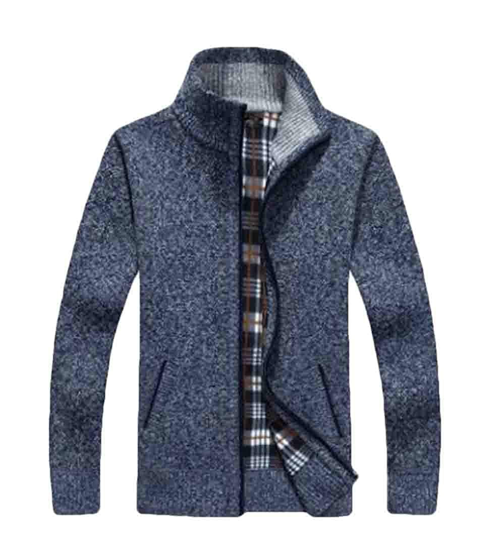 BU2H Men Zip-Up Knit Stand Collar Open-Front Relaxed-Fit Cardigan