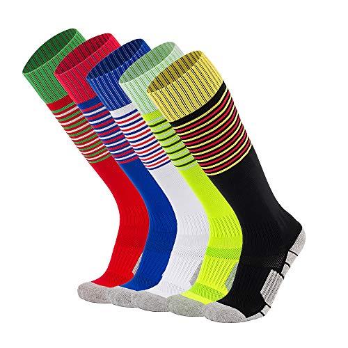 Kids Soccer Socks Little Boys Girls Knee High Cotton Athletic Stripe Compression Football Sport Long Socks (X-Small, 5 Pairs (Black+Royal Blue+Red+White+Lime Green))