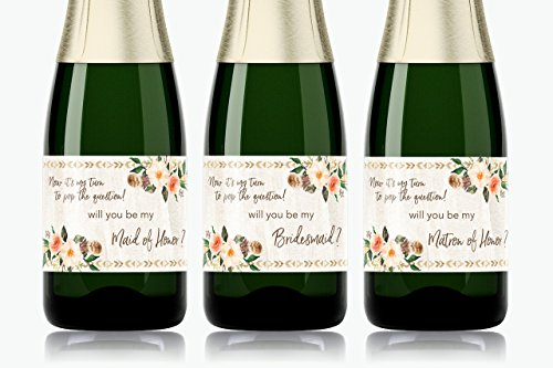 Bohemian Bridesmaid Mini Champagne Labels ● SET of 8 ● Boho Wedding Wine Labels, Country, Rustic Bridesmaid Proposal, Floral, Ask Maid of Honor, Bridal Party Ask, Gifts, Favors, WATERPROOF, M405-ASK-8 (Le Wine Mini)