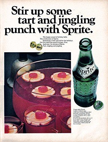 1967 Sprite Tingle Bell Punch Recipe-No Alcohol-Original 13.5 * 10.5 Magazine Ad
