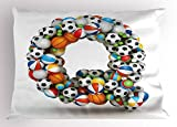 Ambesonne Letter Q Pillow Sham, Typographic Letter Font Design with Various Gaming Balls Athletic Kids Teamplay, Decorative Standard Queen Size Printed Pillowcase, 30 X 20 inches, Multicolor
