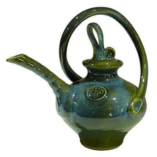 Colm De Ris Irish Pottery Spiral Tea Pot, Green
