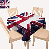 """Union Jack Picnic Cloth Grungy Aged UK Flag Big Ben Double Decker Country Culture Historical Landmark Dining Table Cover Multicolor W 54"""" x L 54"""""""
