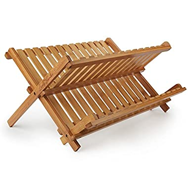 Lovely Bamboo Dish Rack for Drying Full-Size Dinner Plates Compact and Sturdy Design Foldaway