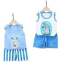 DEYOU Pack de 4 camisetas sin mangas para niños o bebés, chaleco, pantalones cortos, conjuntos de ropa, edad (6 meses-5…