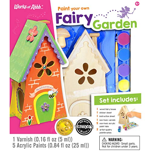 MasterPieces Works of Ahhh Real Wood Large Acrylic Paint & Craft Kit, Fairy Garden, Moms Choice Award & Dr. Toys 100 Best Winner, for Ages 4+