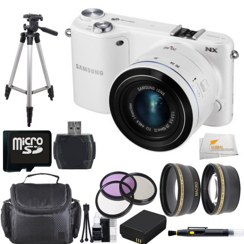 Samsung NX2000 Smart Wi-Fi Digital Camera Body & 20-50mm Lens (White) Bundle Kit Includes - 0.43X Wide Angle Lens, 2.2X Telephoto Lens, 3 Piece Filter Kit (UV-CPL-FLD), 16GB Micro SD Memory Card, Card Reader, Extended Life Replacement Battery, Case, Tripod & More