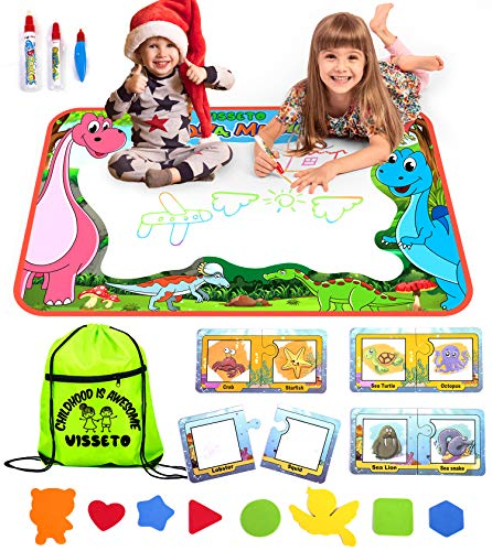VISSETO Large Aqua Magic Mat + 8 Learning Aquadoodle Cards | Kids Toys Aqua Mat | Reusable Water Drawing Mat, 3 Magic Pens | Mess Free | Water Doodle Mat Coloring for Toddlers Gift for Girls, Boys ()