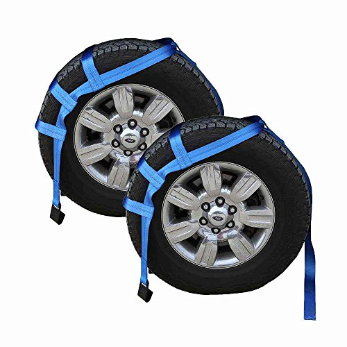 Blue Extra Large Vehicle Tow Dolly Basket Tie Down Straps with Flat Hooks | 2 Pack