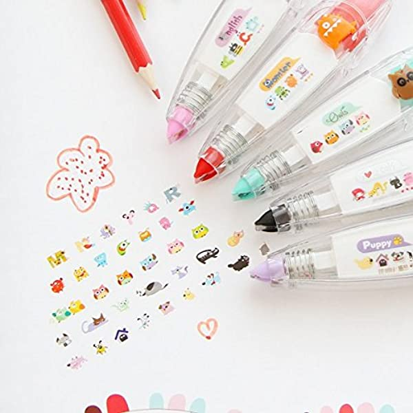 6 Pieces Cartoon Decorative Tape Pen Cute Cartoon Push Tape Sticker Correction Tape Pen DIY Decorative Tape for School Office Home Scrapbooking Greeting Card Letter Diary Stationery Supplies