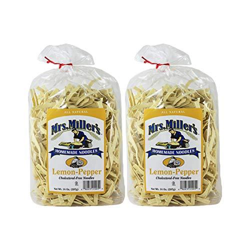 (Mrs. Miller's Homemade Noodles, Lemon-Pepper, All Natural & Cholesterol Free, 14 OZ (Pack of 2))