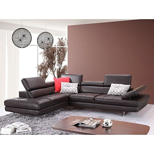 JM Furniture A761 Italian Leather Left Sectional in (Leather Sectional Top Grain)