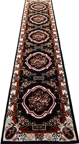 Runner Persian Medallion 3x12 Area Rug Carpet Black Actual Size 2'3 x 10'10'