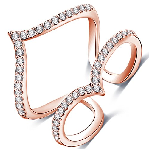 [FENDINA Women 18K Rose Gold Plated Geometric Open Rings 2 Rows Cubic Zirconia Paved Promise Rings for] (Miley Cyrus Princess Costume)