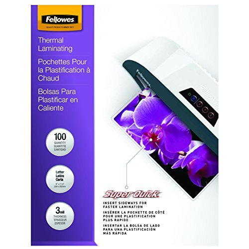 Fellowes Laminating Pouches, Thermal, SuperQuick 11.5