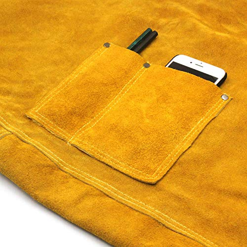 Leather Welding Apron Flame-Resistant Heat Resistant Work Apron Fire Resistant Welding/Welder Smock, 24 x 36 Inch, 6 Pockets by Handook (Image #3)