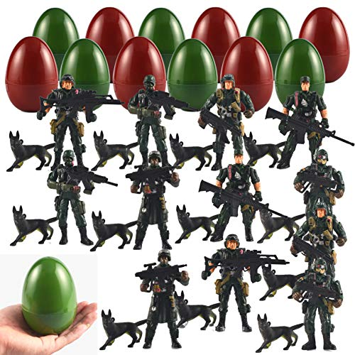 Joyin 12 Pack Jumbo Easter Eggs with Prefilled Poseable Soldier Action Figures, Easter Basket Stuffers, Army Themed Party Favors for Kids