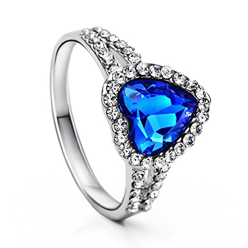 Neoglory Platinum Plated Blue Heart Crystal Engagement Rings Size 7 Valentine Mother's day Gift (Titanic Heart)
