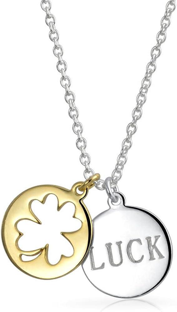 Collar con colgante de trébol de la buena suerte, 2 tonos, chapado en oro de 14 quilates, plata de ley 925