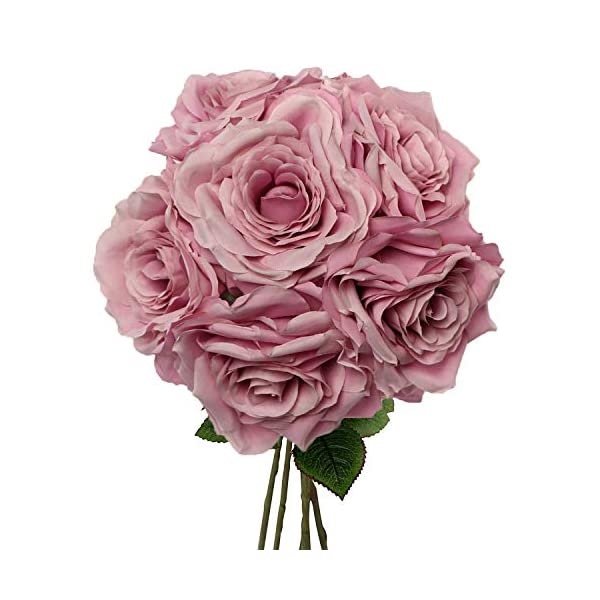 Premium Lilac Silk Artificial Roses for Bridal Bouquet, Wedding or Party Centerpiece Flower Decoration – Six Roses with 20″ Long Stems