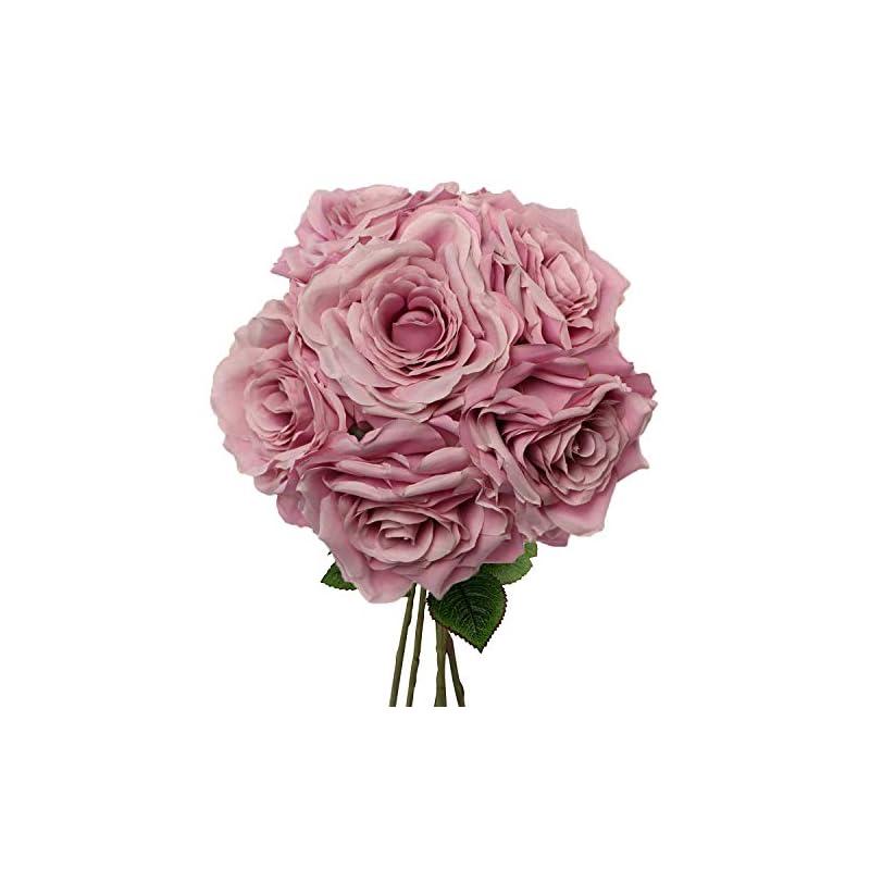 "silk flower arrangements premium lilac silk artificial roses for bridal bouquet, wedding or party centerpiece flower decoration - six roses with 20"" long stems"