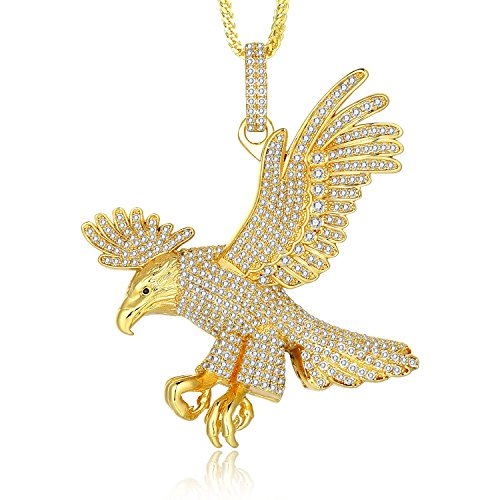 Lanroque White Diamond Cubic Zirconia and 14K Gold Eagle Pendant Necklace for Men, 26''