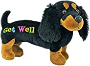 """Just4fun 12"""" GET Well Plush - Black Dachshund Dog - Gift for HOSPITALIZED Child or Adult - Weiner - Speed"""