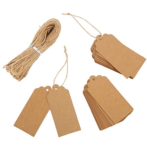DECORA Gift Tags 100 Pieces Kraft Brown Tags With Free 100 Feet Jute Twine for Gift,Clothes, Wedding, Price Tag ()
