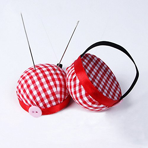 Ioffersuper Red Plaid Grids Needle Sewing Pin Cushion Wrist Strap Tool Button Storage Holder