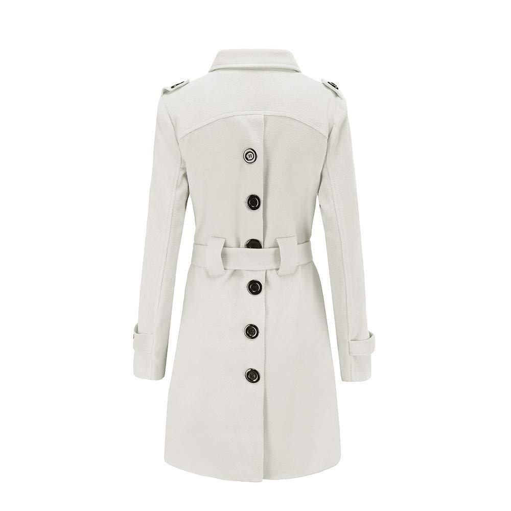Tsmile Women Winter Warm Woolen Coat Lapel Trench Parka Jacket Belt Button Overcoat Outwear