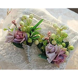 MOJUN Wedding Wrist Flower Artificial Rose Corsage Brooch Boutonniere Set Party Prom Hand Flower Decor, Light Purple 89