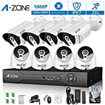 A-ZONE 8CH 1080P HD-TVI Security DVR Recorder System and (8) 1080P Outdoor Fixed Bullet/ Dome Cameras with IP67 Weatherproof Day/Night Vision, Motion Detection & Email Alert- with 2TB HDD
