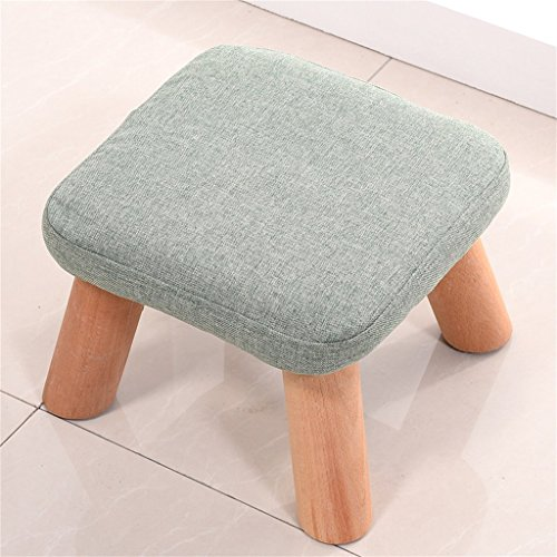 LQQGXL European chair Solid wood replacement shoe stool foot stool test shoe stool round padded footstool 4 wooden legs padded stool cloth cover (Color : # 4) by LQQGXL