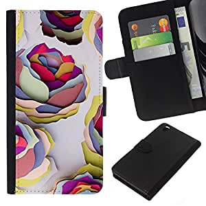 KingStore / Leather Etui en cuir / HTC DESIRE 816 / Paint Roses Wallpaper Arte;