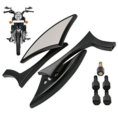 Frenshion Universal Motorcycle Aluminum Fashion Triangle Rearview Mirrors Side Mirror for Harley Yamaha Kawasaki Honda Street Bike Black