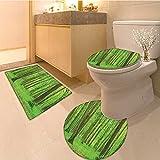 3 Piece Anti-slip mat set Morning Sunrays seen Through Trees Summertime Countryside Scenic Vie Extralong Green Non Slip Bathroom Rugs