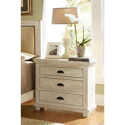 Progressive Furniture Willow Nightstand, Distressed White, 32u0026quot; ...