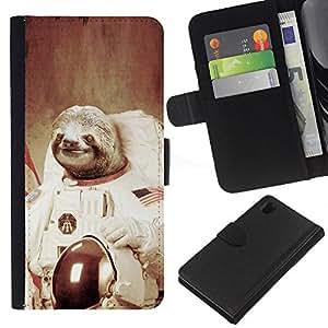KLONGSHOP // Tirón de la caja Cartera de cuero con ranuras para tarjetas - Luna espacial del arte del árbol Pereza Animal Cosmos - Sony Xperia Z1 L39 //